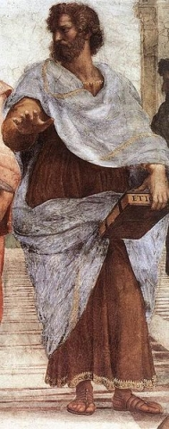"Aristotle holding a copy of ""Ethics""  - detail of painting by Raphael"