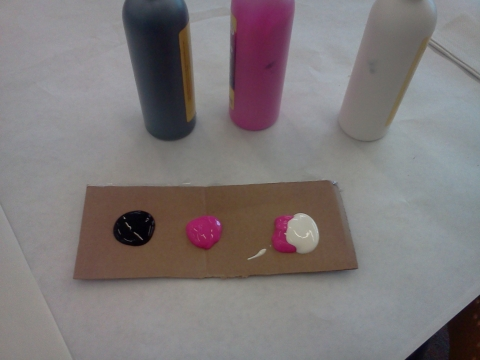 Step 1 Place Black And Pink Paint On Cardboard Make Light By Mixing