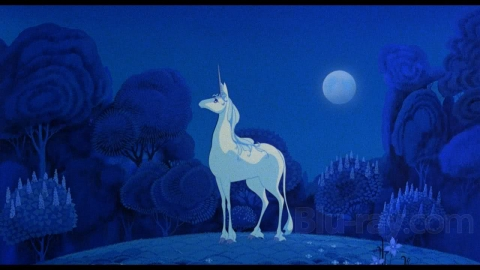 "A frame from the film adaptation of ""The Last Unicorn."""