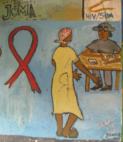 AIDS awareness painting in Mozambique