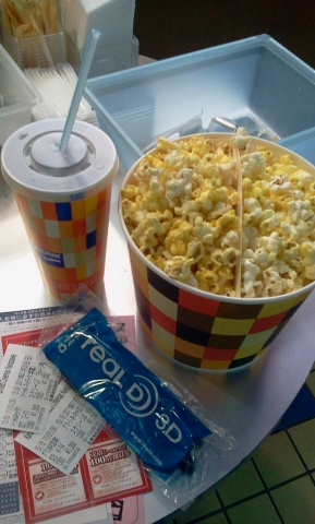 Movie popcorn and tickets