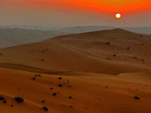 The Arabian desert at sunset.