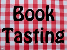 """Image of summer table cloth superimposed with """"book tasting"""""""
