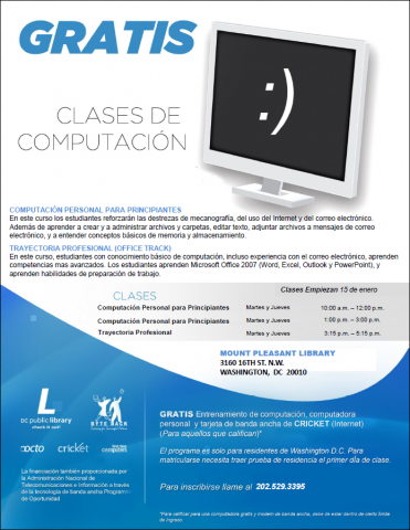 Informational flyer for Byteback's computer classes for Spanish speakers.