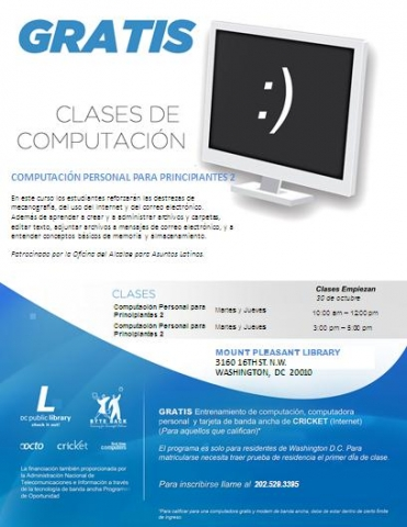 Flyer for computer classes in Spanish hosted by ByteBack at the Mount Pleasant Library
