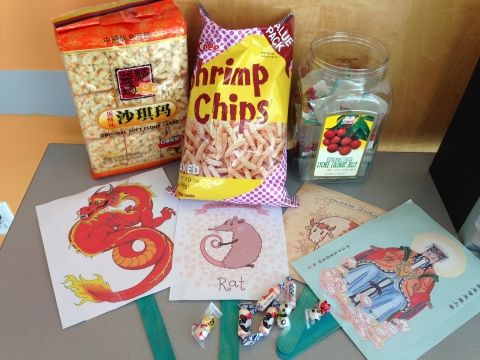traditional Chinese snacks and stick puppets