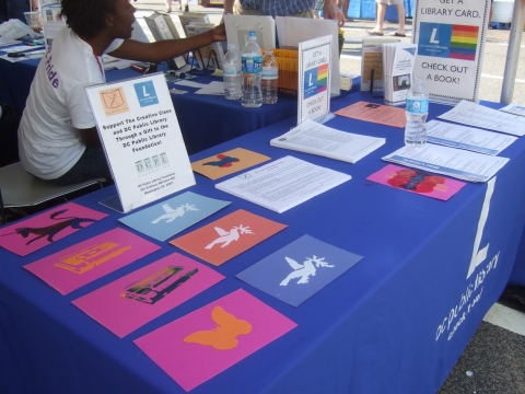 The Creative Class put on a screen printing program at the DCPL booth at the 2012 DC Pride Festival