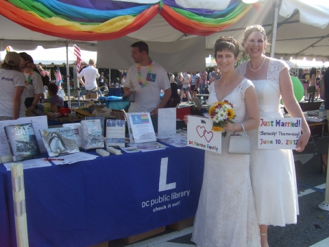 The newlyweds chose to pose for their second official photo at Pride with our booth!