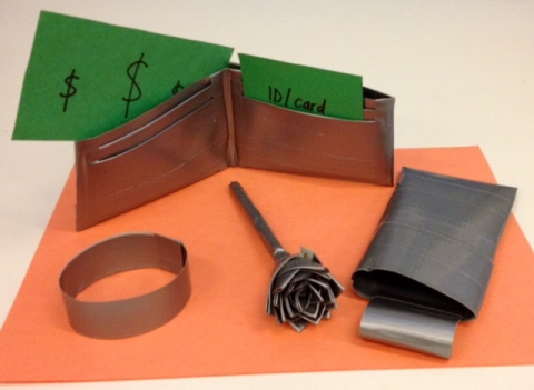 Duct tape wallet, bracelet, flower pen, and phone cover