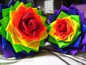 Image of two roses created using duct tape
