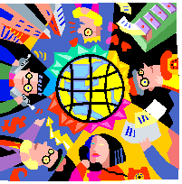 Multicolored image of people communicating through various means.