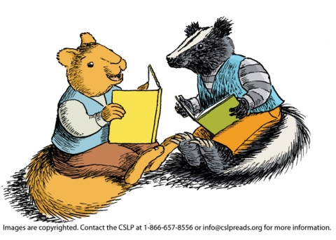 squirrel and skunk reading