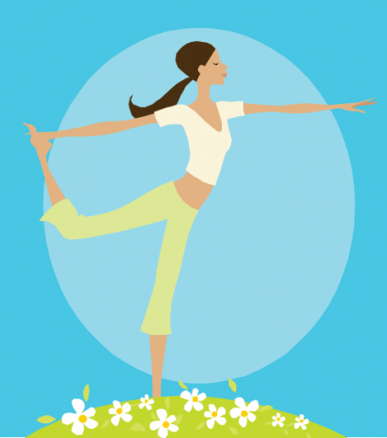 A girl in a yoga pose.