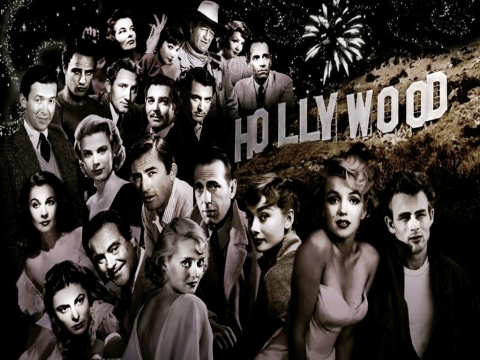 Fan art of classic Hollywood movie stars next to the Hollywood hills sign