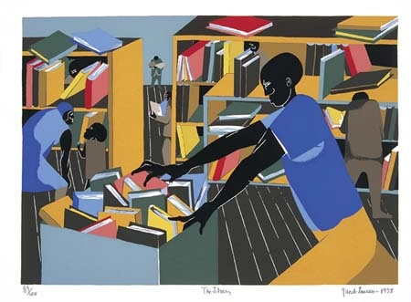 Jacob Lawrence-The Library Painting