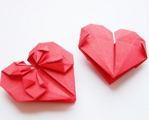 tow pink origami hearts