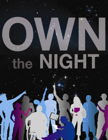 Image and slogan for Teen Summer Reading program, Own the Night.
