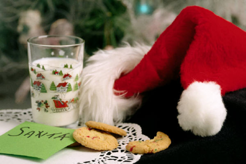 Photograph of Santa's hat and cookies
