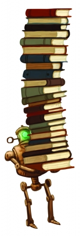 Image of robot carrying books