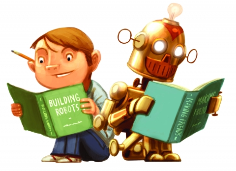 Boy and Robot reading together