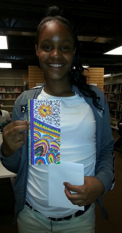 Picture of Sarah B with her winning bookmark