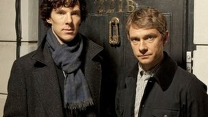 Photo of cast members from the Sherlock television series.
