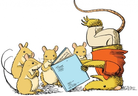 Mouse reading upside down surrounded by four mice