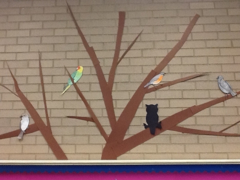 Tree with Birds in MLK Library