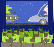 Clip art of green aliens watching a movie