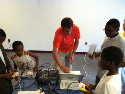 Barret Jones shows kids and teens how to create electronic music