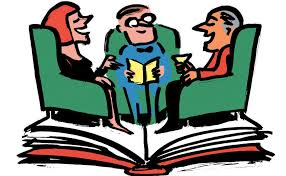 Clipart of people discussing a book.