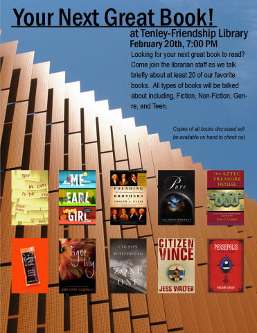 "Poster for ""Your Next Great Book!"" program"