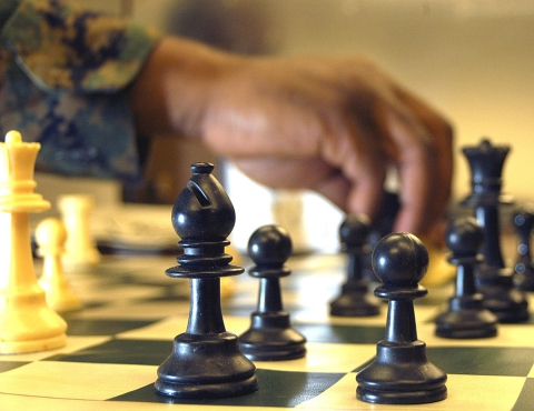 Closeup of a Chess Board