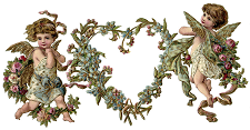 Picture of cupids holding a heart-shaped wreath