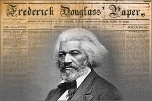 Fredrick Douglass in front of his newspaper.