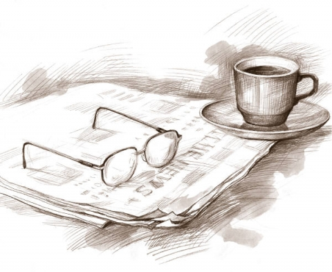 Sensitive drawing of eyeglasses, a newspaper, and a cup of coffee