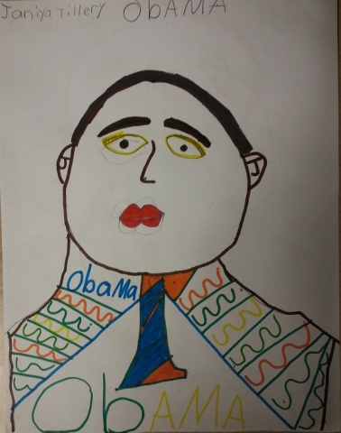 A drawing of Obama