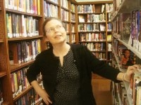 Susan Froetschel at the library