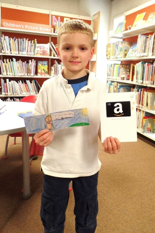 Picture of Hayden W. and his bookmark.