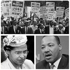 collage: civil rights protestors, Rosa Parks, Martin Luther King Jr