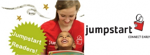 Jumpstart logo with photo of volunteer reading to a child