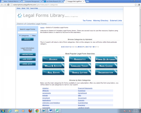 screenshot of the homepage of the legal forms database