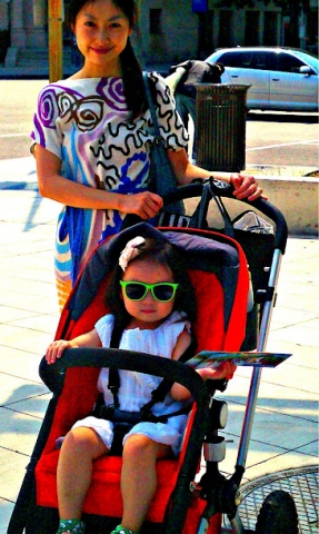 Jing and Lucienne with stroller