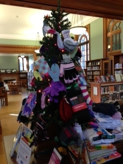 Our tree is filling up with socks and mittens!