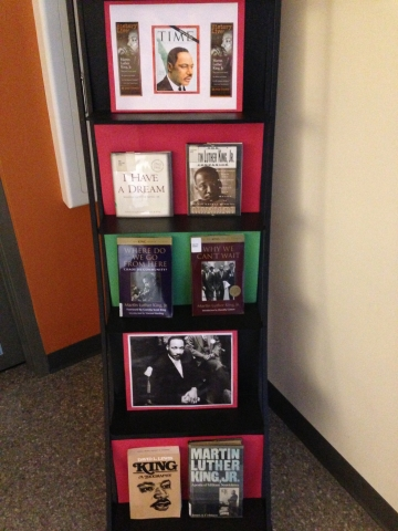 Display of books and photographs on Martin Luther King, Jr.