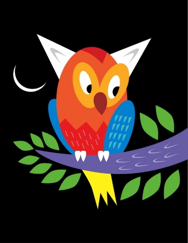 Owl in a tree with a crescent moon.