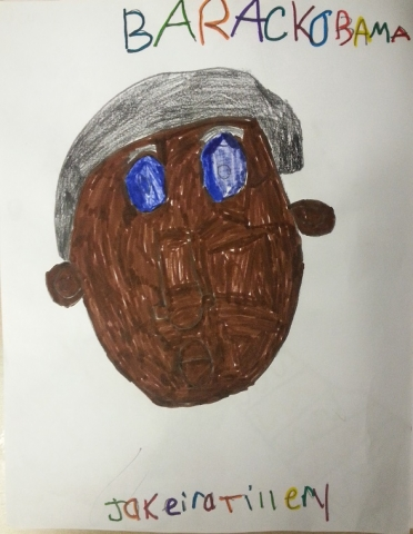 A drawing by a 5th grade participant of Barack Obama