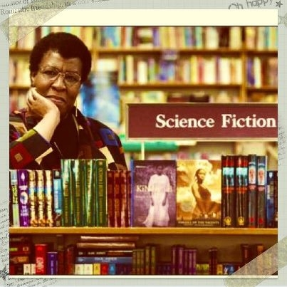 Octavia Butler in the Science Fiction section of a bookstore