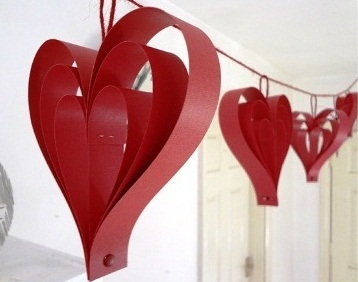 Photograph of red paper hearts