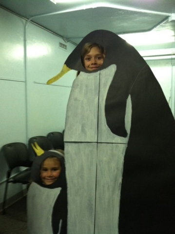 Ella and Kyle as penguins